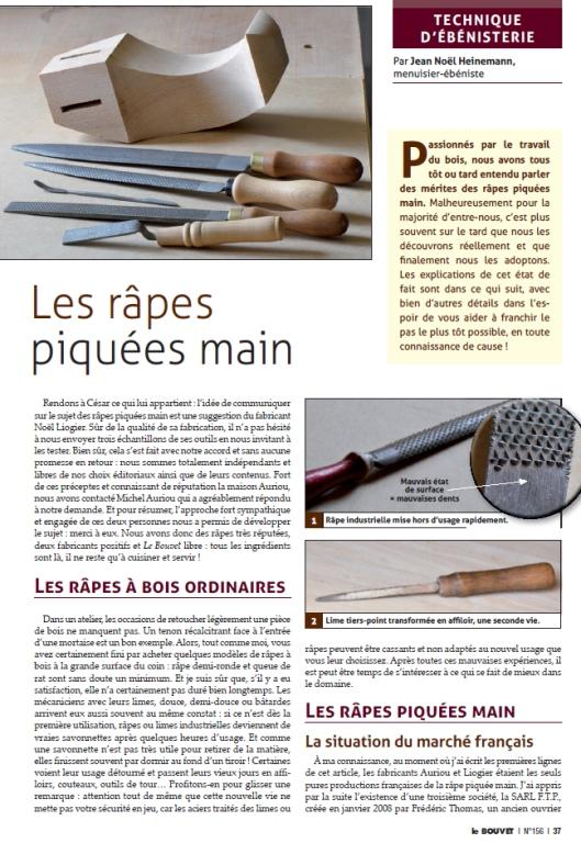 Article Bouvet 156 - Les râpes piquées main