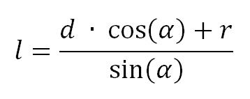 Gabarit d'affûtage, méthode géométrique : équation