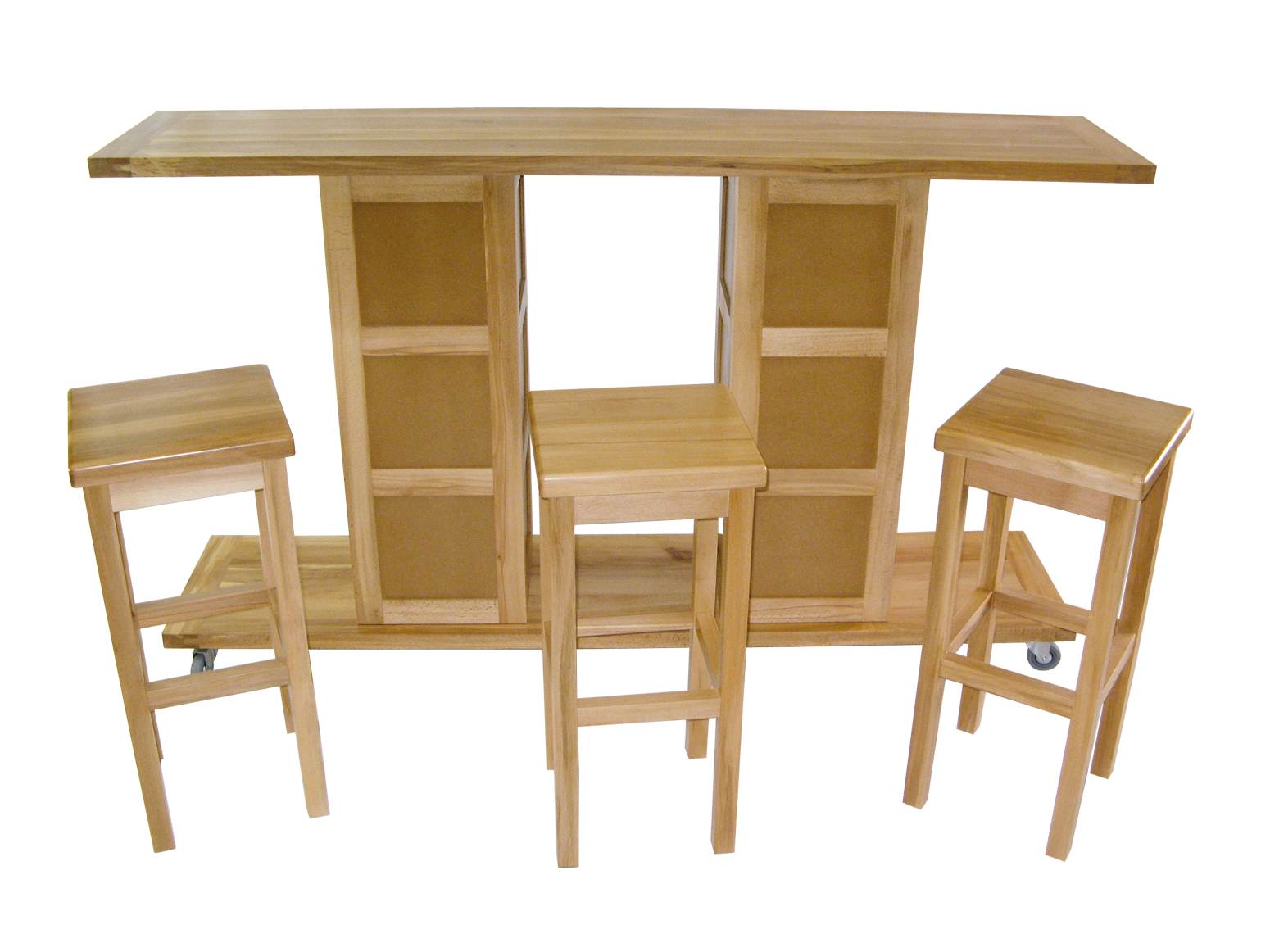 Un bar nomade et ses trois tabourets bois le bouvet for Roulette deplace meuble