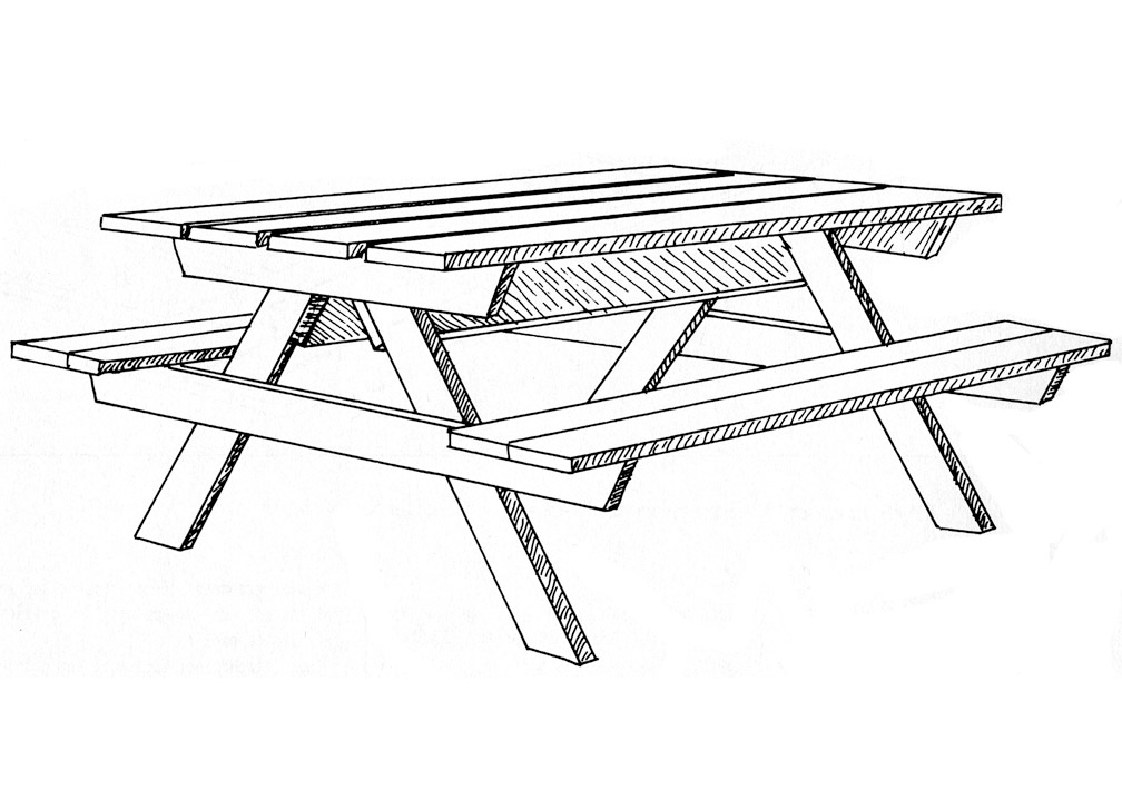 Emejing dessin de table de jardin gallery - Table jardin en bois ...