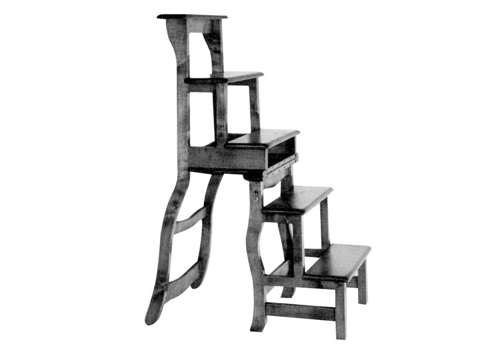 Une chaise escabeau de biblioth que bois le bouvet for Chaise escabeau