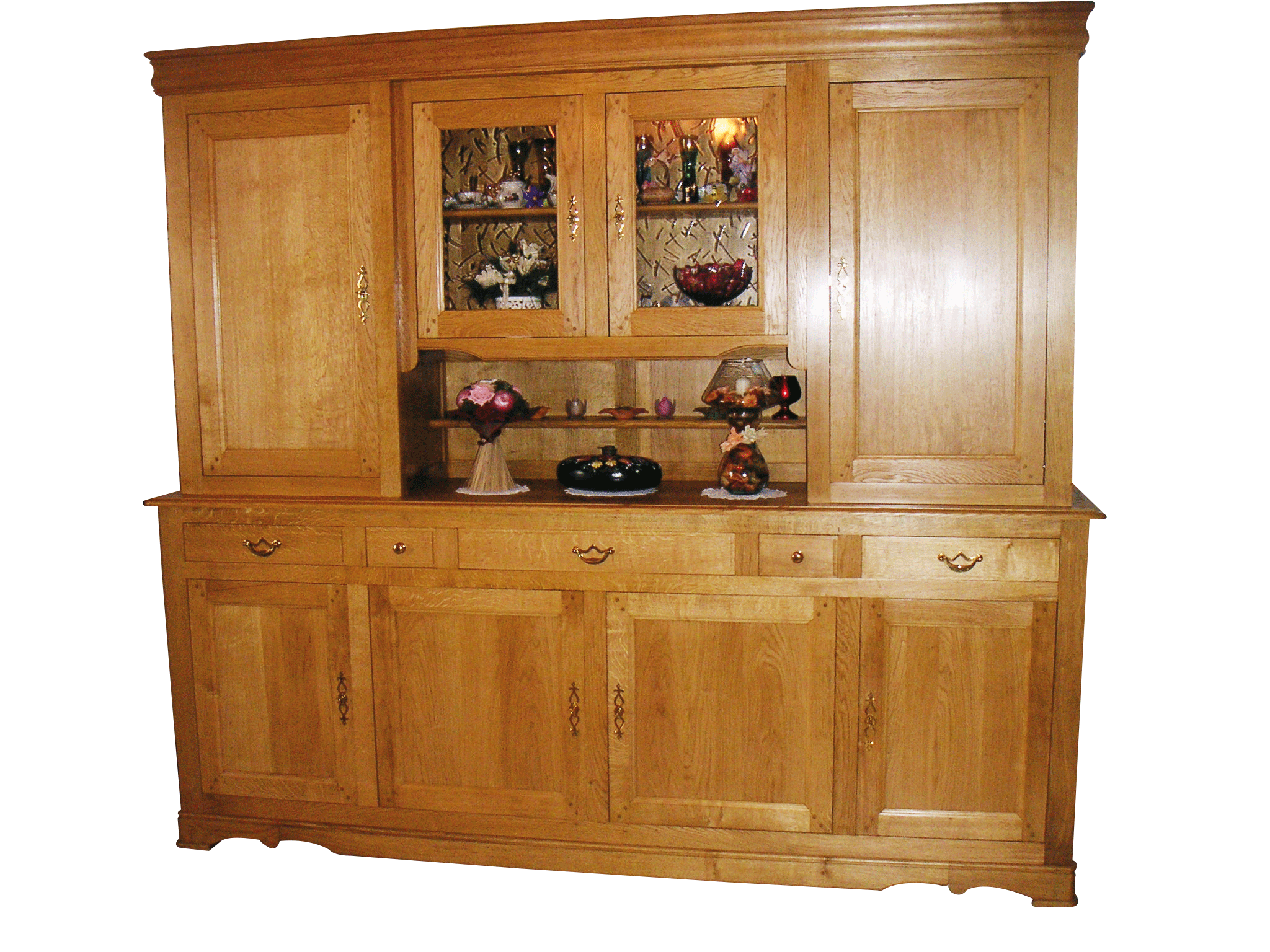 Un buffet vaisselier deux corps bois le bouvet for Buffet vaisselier