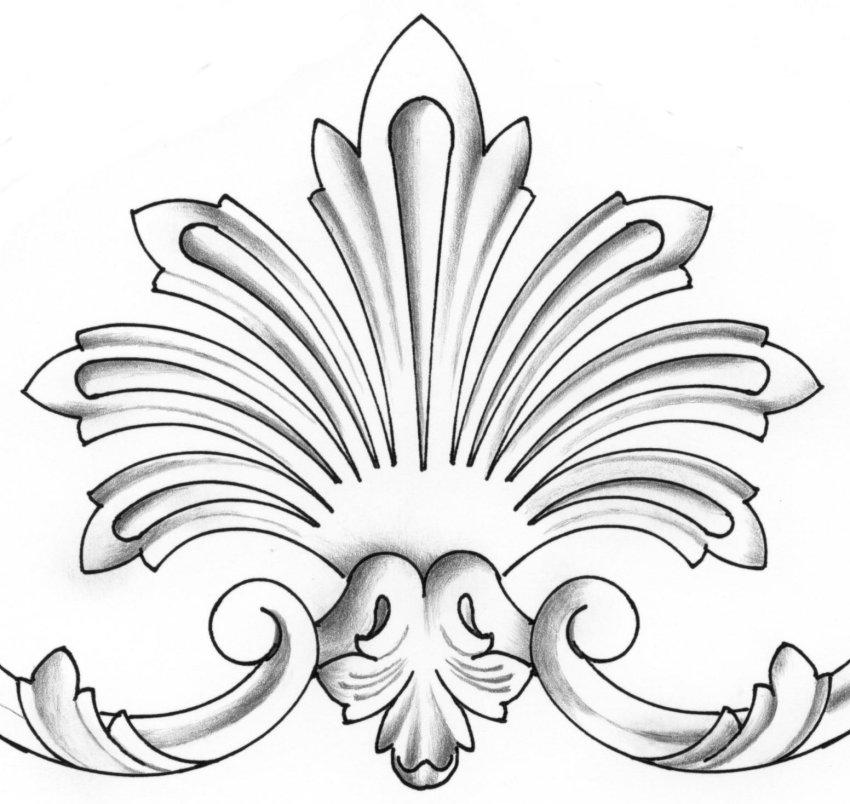 sculpture sur bois motif ornementaux