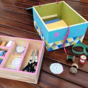 Une boîte à couture à partir de caisses à vin