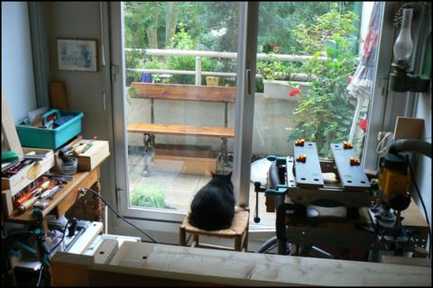 Atelier bois dans la cuisine : vue d'ensemble 2007