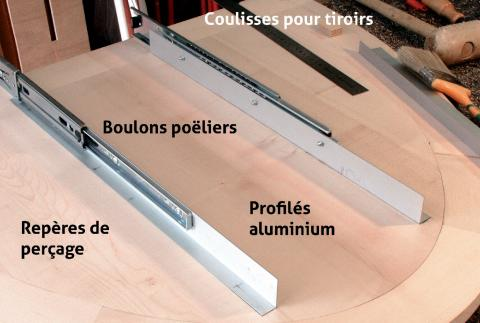 Transformation de coulisses pour tiroir de table à rallonge