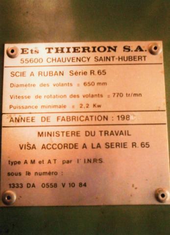 Scie à ruban Thierion, plaque