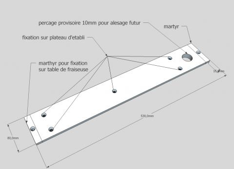 Travail du métal : fabriquer une presse d'établi, schéma du plateau