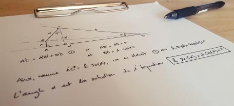 Gabarit d'affûtage, méthode géométrique : équation photo