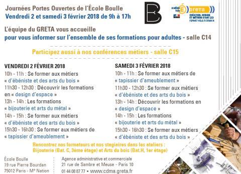 GRETA CDMA aux porte ouvertes 2018 de l'École Boulle