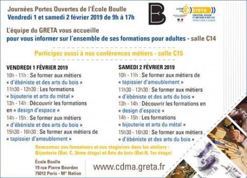GRETA CDMA : programme école Boulle 2019