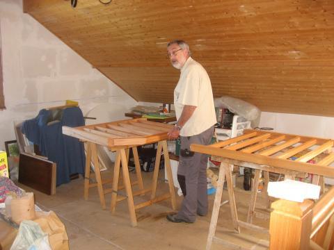 Un escalier quart tournant : garde-corps, réalisation en cours