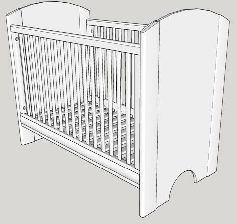 Un lit pour bébé, simple et moderne, vue 3D