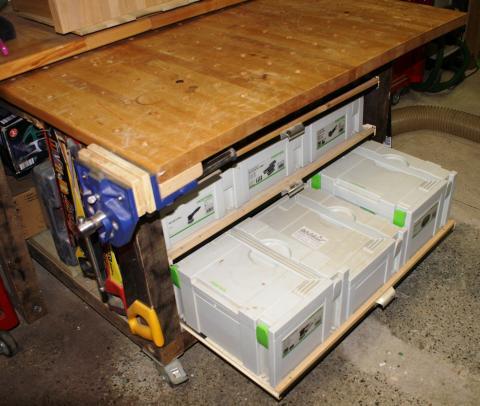 Ateliers des lecteurs l 39 tabli mobile de sylvain bois le bouvet - Comment fabriquer un etabli en bois ...