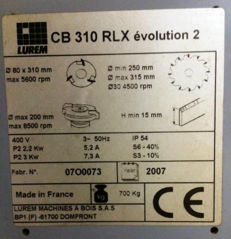 Combinée Lurem CB 310 RLX Evolution 2 - plaque
