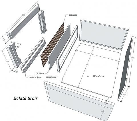 Meuble colonne de salle de bains, vue éclatée du tiroir